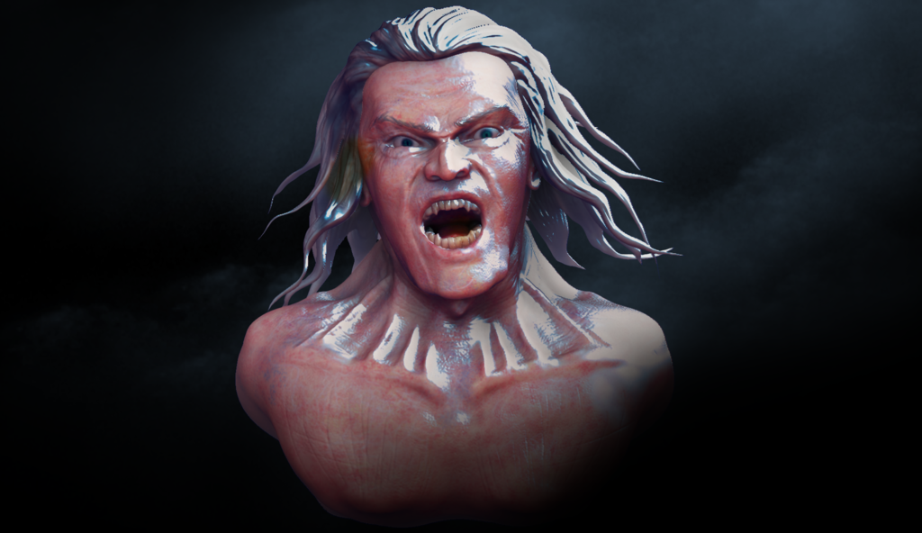 study for facial expression: Rage